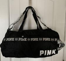 Victoria Secret PINK Black & White Logo Double Strap Travel Gym Duffle Beach Bag