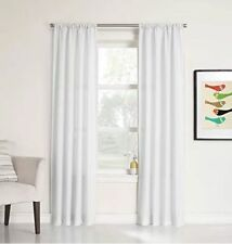 No. 918 Marley Heathered Solid Curtain Panel, 40 by 84-Inch, White (G33)