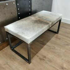 BESPOKE - cowhide topped Steel bench / chair 2 person - handmade in the UK