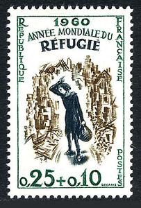 France B340, MNH. World Refugee Year. refugee Girl Amid Ruins, 1960