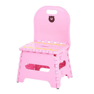 Kids Foldable Chair Step Stool with Back Store Flat Folding Camping~Pink_S