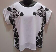 Top 2X 3X Plus White Black Giraffe Dolman Sleeve Layered Cami NWT DC542