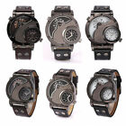 Oulm Leather Men Dual Time Sport Stainless Steel Dial Analog Quartz Wrist Watch