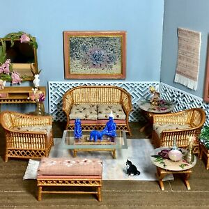 1:16 Dollhouse cane rattan living room set sofa armchair beige - Lundby scale