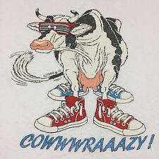 Vintage Cow Crazy Thin Soft White Large T Shirt Screen Stars 1988 Farm Fair Barn