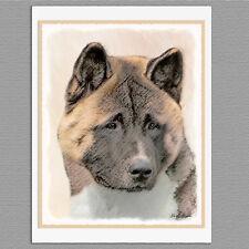 6 Akita Dog Blank Art Note Greeting Cards