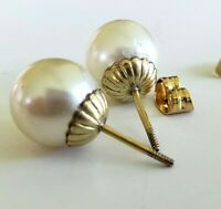 Vtg Puffy Glass Faux Pearl Gold Tone Plated Threaded Posts Stud Pierced Earrings