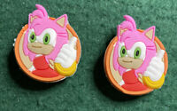 AMY ROSE SONIC 2 pc set Shoe Charms for Crocs/Bracelet Charms ~ Free Shipping!