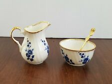 Elizabethan Bone China Sugar Bowl Creamer Spoon Blue Floral Gold Rim England