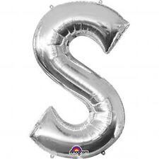 """Lettera S argento Foil Balloon 16"""" 40cm Aria Riempire Nome Età Compleanno Anniversario"""