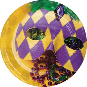 8 x Mardi Gras Paper Plates 18cm Carnival Masked Ball Mardis Gras Party Supplies