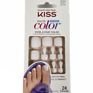NEW Kiss Nails Salon Color Press or Glue Pedicure Gel All White Toe Nails