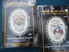 2 KITS DATED 1986 SEALED PARAGON CROSS STITCH KITS COUNTRY COMES WITH HOOPS