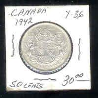 1942 Canada 50 Cents Half Dollar Y 36 Silver Coin