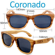Coronado Polarized Zebrawood Sunglasses Brown Wood Sun Glasses UVA UVB