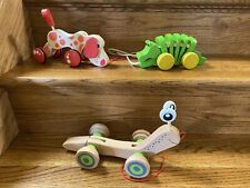 3 Wood Wooden PLAN TOYS Hape Pull Toy Dancing Alligator Walk-A-Long Puppy Snail