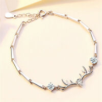 Luxury 925 Silver Elk Antler Sapphire Fashion Bracelet Jewelry Christmas Gifts