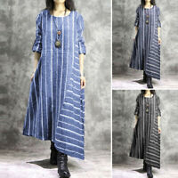 ZANZEA Women Long Sleeve Kaftan Shirt Dress Oversize Stripe Loose Midi Dress