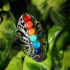 7 Chakras spirituality gemstones open ring adjustable women men Tibet silver