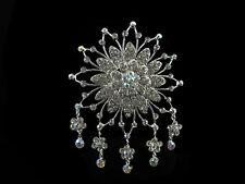 Large Sparkling Starburst Flower Bridal Hair Comb (DAHCFS03349)