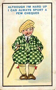 I CAN ALWAYS SPORT A FEW CHEQUES 1924 COMIC POSTCARD BLACKPOOL