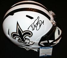 Drew Brees signed Flat White Helmet, New Orleans Saints, Purdue, Beckett BAS