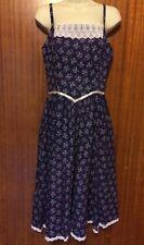 EUC VTG Gunne Sax Sun Dress Blue Navy Calico Floral Prairie Lace McClintock S