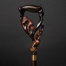 Bear & Ram Wooden Cane, Forest Song Walking Stick for Gift, Hand Carved Handmade