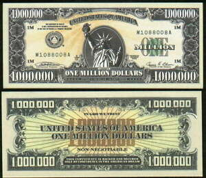2002 Reissue IAM Million Dollar Bill Liberty Novelty Funny Money + FREE SLEEVE