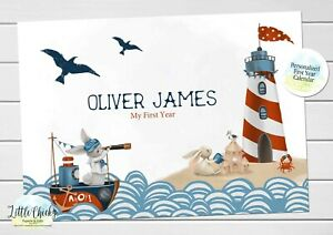 Nautical Baby's First Year Calendar, Personalized Calendar for baby