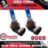 2 x HB3 9005 100w Super White High - Main Beam Headlight Bulb 12v HID Effect