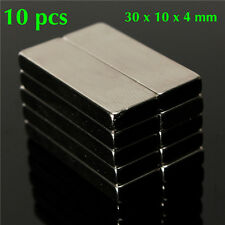 10 pcs 30x10x4mm N50 Bulk Super Strong Strip Block Bar Magnets Rare E. Neodymium
