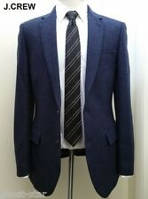 J.CREW tweed wool navy blue blazer suede elbow patch jacket sport coat 38R 38 R