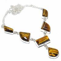 "Tiger Eye Gemstone Handmade 925 Sterling Silver Jewelry Necklace 18"""