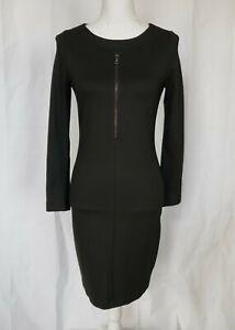 Anthropologie Black Chest Zip Dress Medium