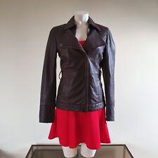 Ted Baker Jacket Leather Biker Brown Dark Purple Size 1 XS 8