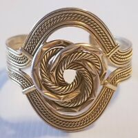 NISSA JEWELRY Bracelet Cuff Gold Tone Twisted Big Knot Egyptian Look Textured
