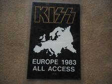 "KISS ""EUROPE 1983 ALL ACCESS"" ORIGINAL LAMINATED BACKSTAGE PASS"