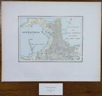 "Vintage 1900 ALEXANDRIA EGYPT Map 14""x11"" ~ Old Antique Original"