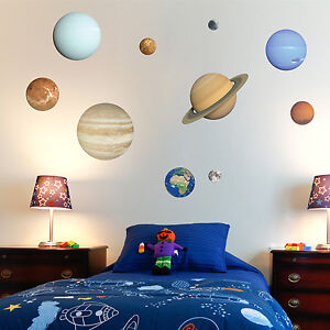 Solar System Wall Stickers - Planets & Moon. Child's Bedroom / Playroom Wall Art
