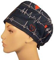SURGICAL SCRUB HAT THEATRE CAP EKG ECG HEARTBEATS QRS COMFORT HAT CORD LOCK