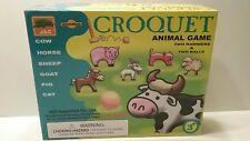 Wood Croquet Set Game Kids Farm Animals Indoor Outdoor