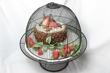 Faux Strawberry Chocolate Cake - Fake Food Display w/ Metal Wire Cake Stand