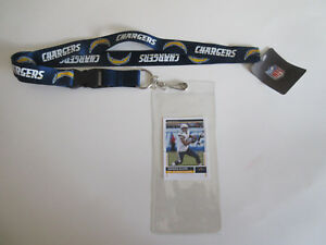 L.A. CHARGERS BLUE LANYARD & TICKET HOLDER PLUS  COLLECTIBLE PLAYER CARD