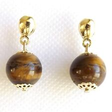 SMALL TIGERS EYE BEAD EARRINGS, SMOOTH STONE GLOBE BALL GOLD PLATED
