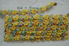 1y Vintage French Ombre Yellow Colorful Rococo Rosette Flower Ribbon Trim Doll