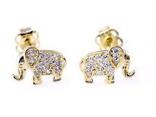 585 Gold Ohrstecker Elefanten 8,2 mm 1 Paar mit 24 Zirkonia Steinen