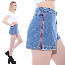 Vtg 90s STRIPED Sporty Club-Kid Rave High-Waist Jean Shorts No Doubt Skater L XL