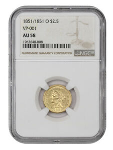 1851/1851-O $2 1/2 NGC AU58 (VP-001) Scarce New Orleans Overdate