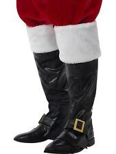 Santa Boot Covers Deluxe Black Fur Tops Christmas Mens Fancy Dress Accessory
